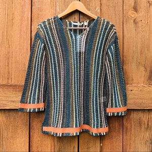 Soft Surroundings Striped Metallic Crotchet Tunic